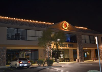 Local Business Lit and Decorated Wreath Plus Holiday Lighting
