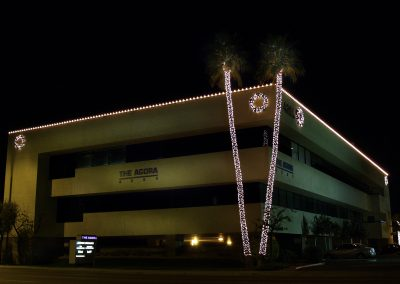 Office Building Holiday Perimeter Lighting and Decorations