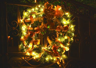 Lit and Decorated Wreath