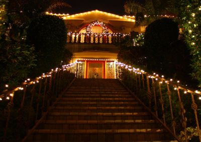 Holiday Light Wrapped Stairwell