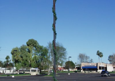 Business Parking Lot Decorated Light Pole with Garland