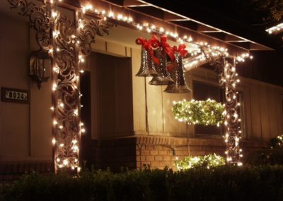Holiday Light Wrapped Entrance with Bell Oranaments
