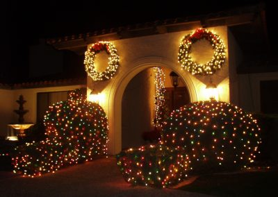 Lit and Decorated Wreath on Home