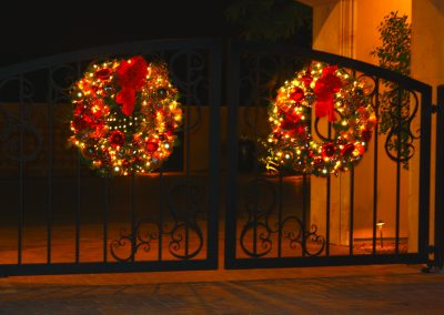 Christmas Lit and Decorated Gate Wreaths